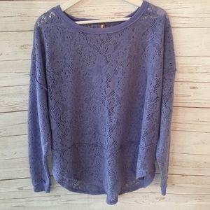Free People Purple Fuzzy Eyelet Sweater Small